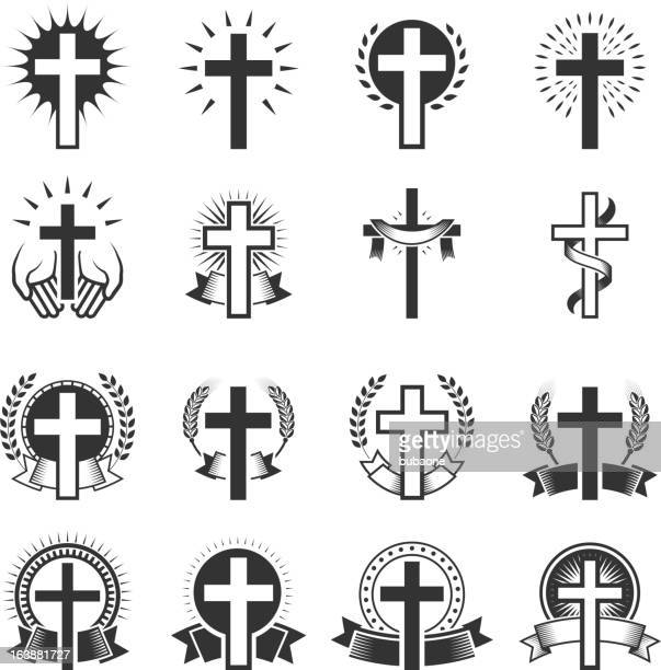 christian cross black and white royalty free vector icon set - jesus stock illustrations, clip art, cartoons, & icons