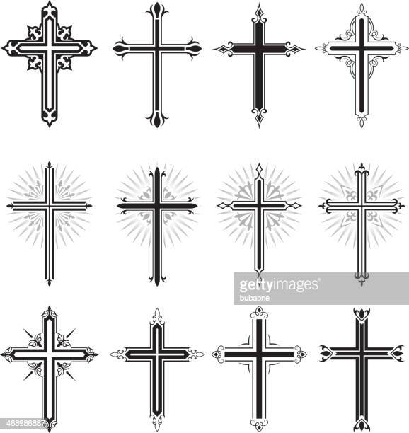 christian cross black and white royalty free vector icon set - protestantism stock illustrations