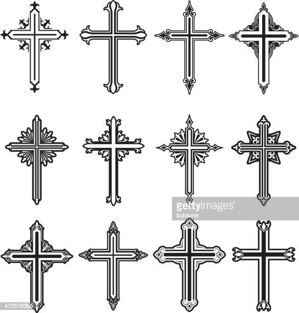 christian cross black and white royalty free vector icon set - religious cross stock illustrations