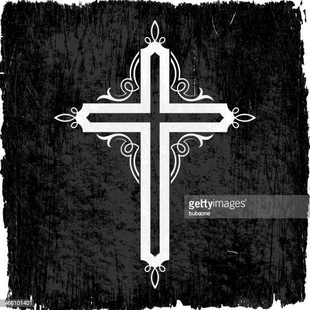 christian cross black & white royalty free vector icon set - catholic baptism stock illustrations