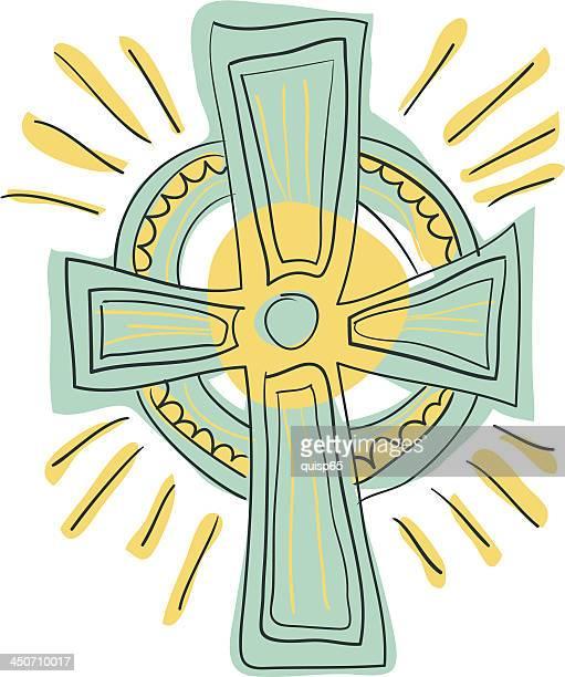 christian cross doodle - celtic cross stock illustrations, clip art, cartoons, & icons