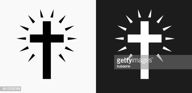 stockillustraties, clipart, cartoons en iconen met christian cross pictogram op zwart-wit vector achtergronden - christendom