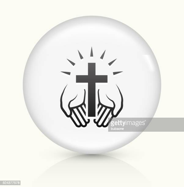 Christian Cross icon on white round vector button
