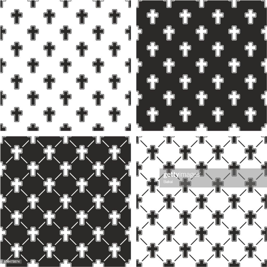 Christian Cross Seamless Pattern Set