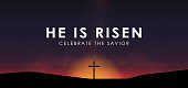 Christian easter scene, Saviour cross on dramatic sunrise scene, with text He is risen, vector illustration