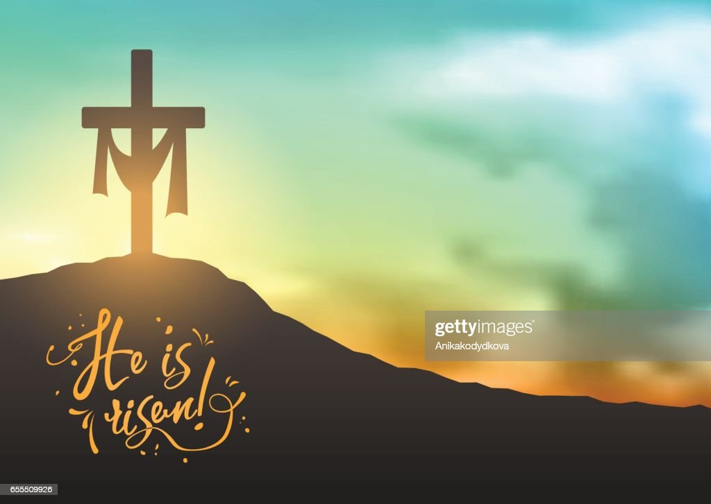 Christian easter scene, Saviour's cross on dramatic sunrise scene, with text He is risen, illustration