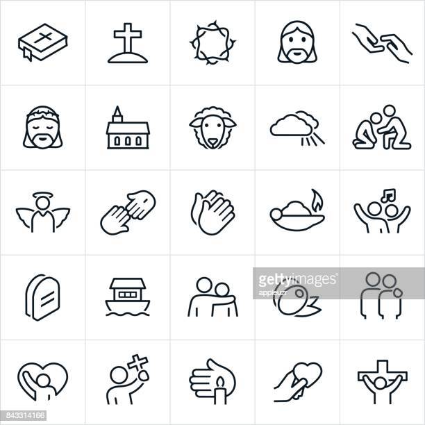 christian faith icons - jesus christ stock illustrations, clip art, cartoons, & icons