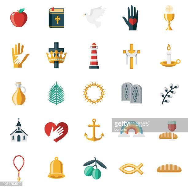 ilustraciones, imágenes clip art, dibujos animados e iconos de stock de conjunto de iconos de diseño de christian flat - catolicismo