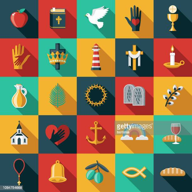 stockillustraties, clipart, cartoons en iconen met christian flat design icon set - christendom