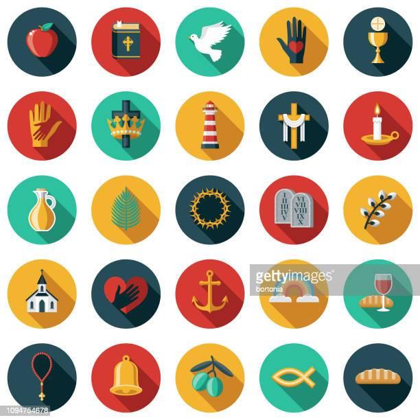 illustrations, cliparts, dessins animés et icônes de christian flat design icon set - colombe