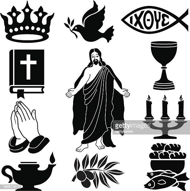 christian icon set in black silhouette - jesus stock illustrations, clip art, cartoons, & icons