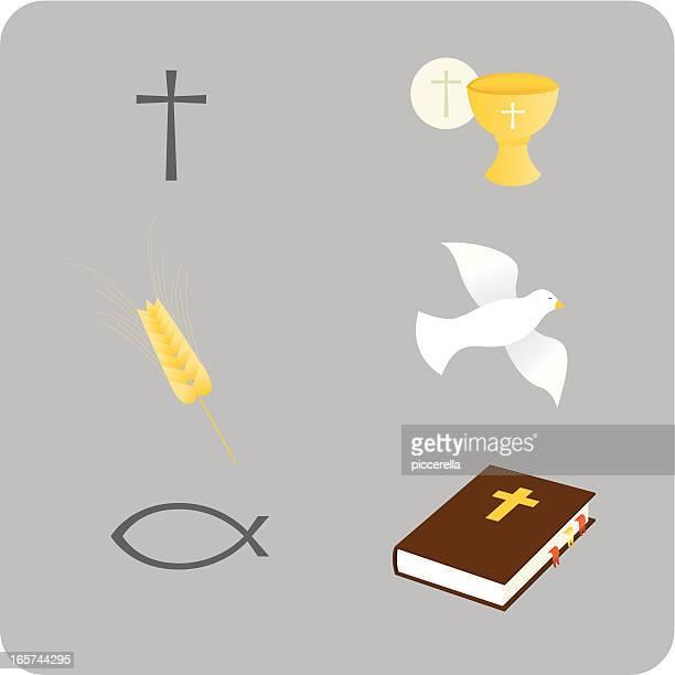 ilustraciones, imágenes clip art, dibujos animados e iconos de stock de christian iconos - espiga de trigo