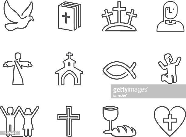christian icons - jesus christ stock illustrations, clip art, cartoons, & icons