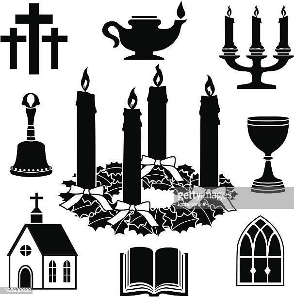 stockillustraties, clipart, cartoons en iconen met christian icons - religieuze dienst