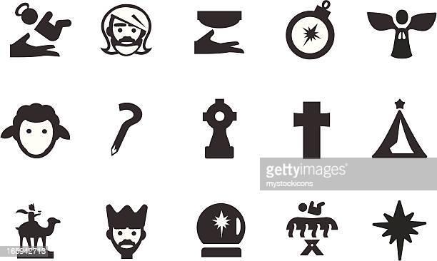 ilustraciones, imágenes clip art, dibujos animados e iconos de stock de christian nativity iconos - los tres reyes magos