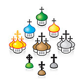 Christian Orthodox churches. Religious temples, architectural structures.