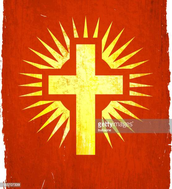 christian religious cross on royalty free vector background - wood stain stock illustrations, clip art, cartoons, & icons