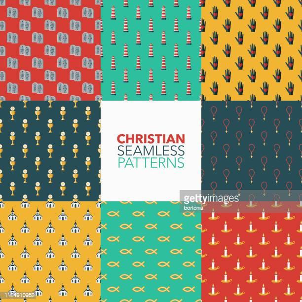 ilustraciones, imágenes clip art, dibujos animados e iconos de stock de cristiano patrones - catolicismo