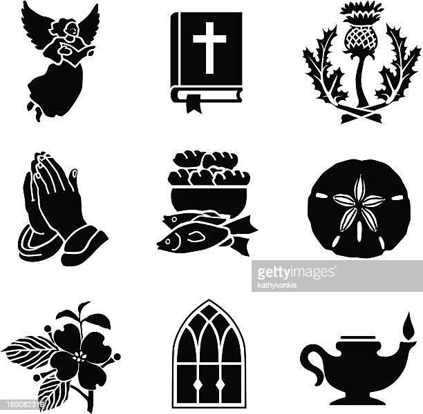christian symbols 01 - praying stock illustrations, clip art, cartoons, & icons