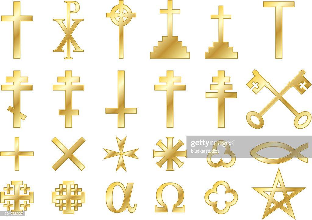 Christian Symbols in Gold