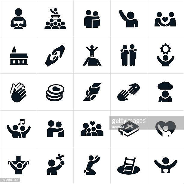 stockillustraties, clipart, cartoons en iconen met christian worship icons - christendom