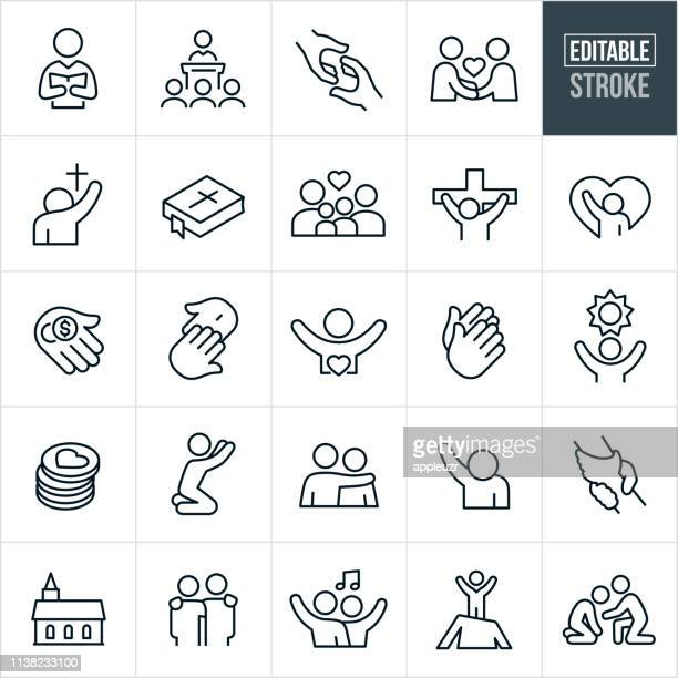 christian worship thin line icons - editable stroke - praying stock illustrations