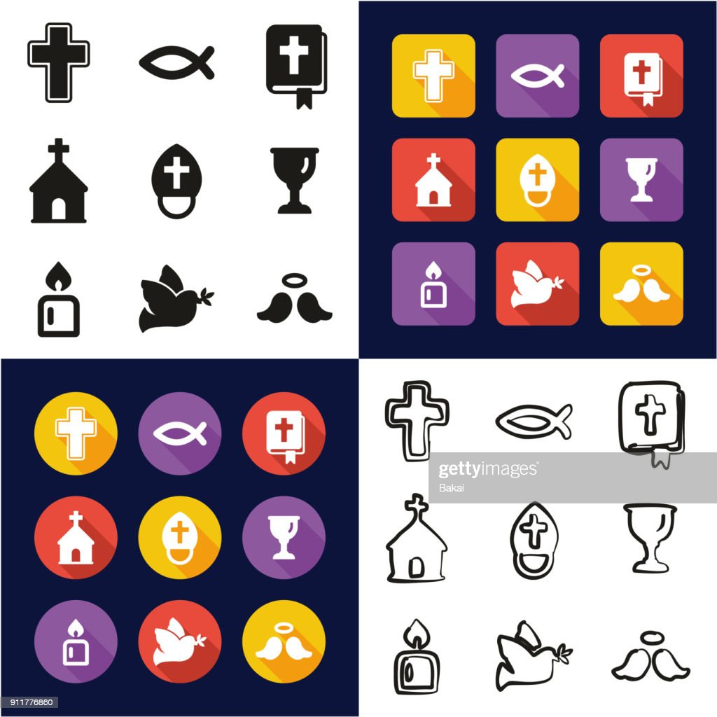 Christianity All in One Icons Black & White Color Flat Design Freehand Set