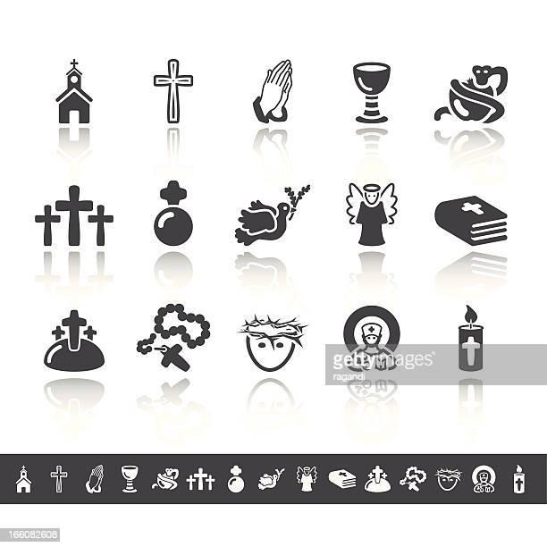 ilustraciones, imágenes clip art, dibujos animados e iconos de stock de cristianismo iconos/simple, gris - corona de espinas
