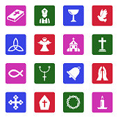 Christianity Icons. White Flat Design In Square. Vector Illustration.