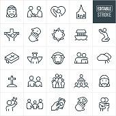 Christianity Line Icons - Editable Stroke