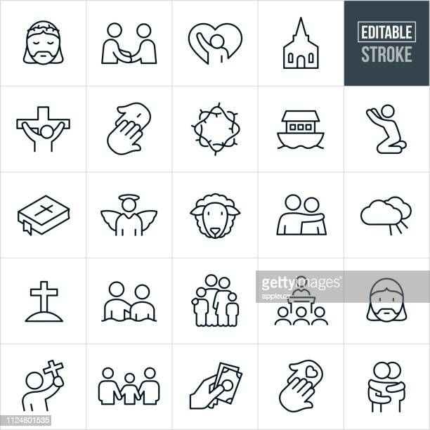 christianity line icons - editable stroke - christianity stock illustrations