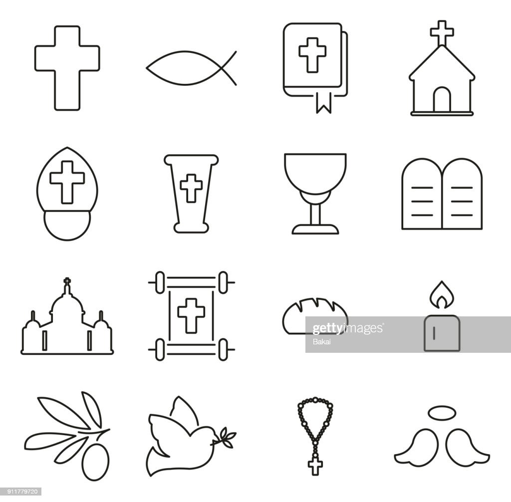 Christianity Religion & Religious Items Icons Thin Line Vector Illustration Set