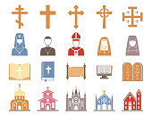 Christianity religion vector pastor religionism flat illustration holy sign silhouette praying religionary christian faith religionist priest church traditional culture Easter symbol