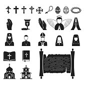 Christianity religion vector religionism flat illustration of traditional holy sign silhouette praying religionary christian faith religionist priest church traditional culture symbol