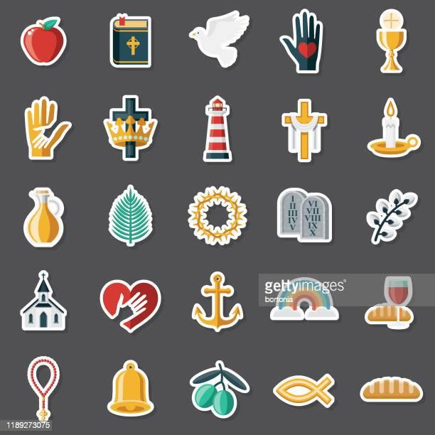 christianity sticker set - palm sunday stock illustrations