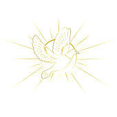 Christianity symbols. Gold color design.