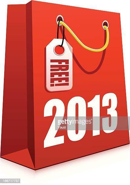 christmas 2013 shopping bag - goodie bag stock illustrations, clip art, cartoons, & icons