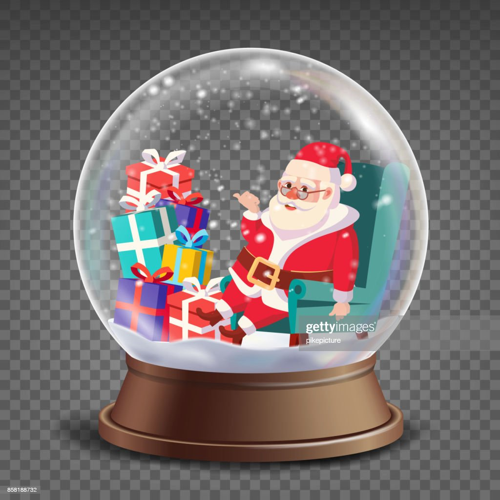 Christmas 3d Classic Xmas Snow Globe Vector. Cartoon Santa Claus With Gifts. Glass Sphere With Glares And Gighlights. Isolated On Transparent Background Illustration