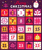 """Christmas advent calendar. Bright holiday countdown in cartoon style. Childish background with Santa Claus, christmas tree, ornaments and hand written text """"Merry Christmas"""""""