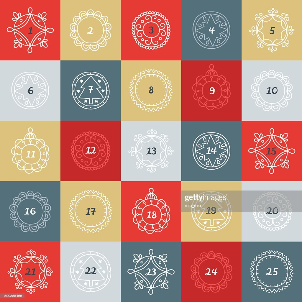 Christmas Advent Calendar. Colorful boxes with frames in linear style