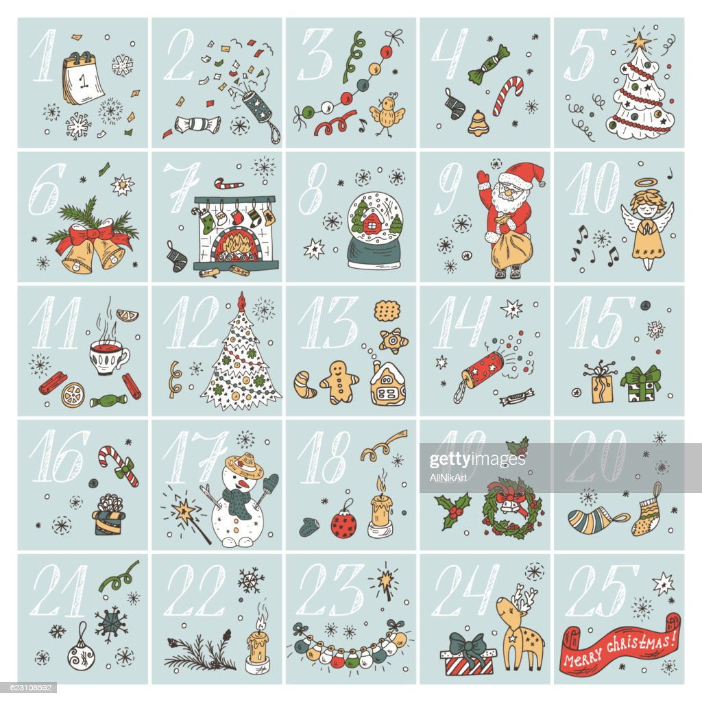 Christmas advent calendar. Doodle Christmas characters and decorations. Holiday Set