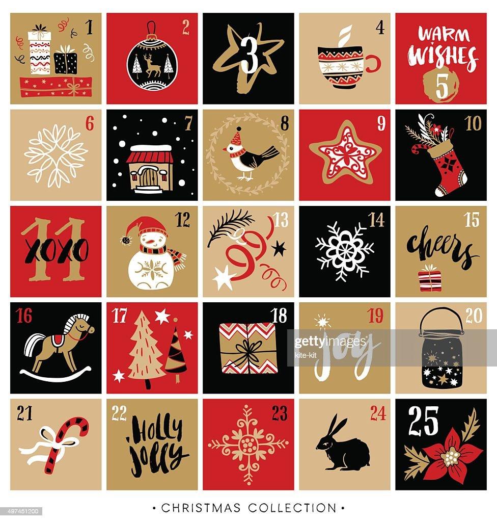 Christmas advent calendar. Hand drawn design and calligraphy.