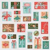 Christmas advent calendar, hand drawn style.