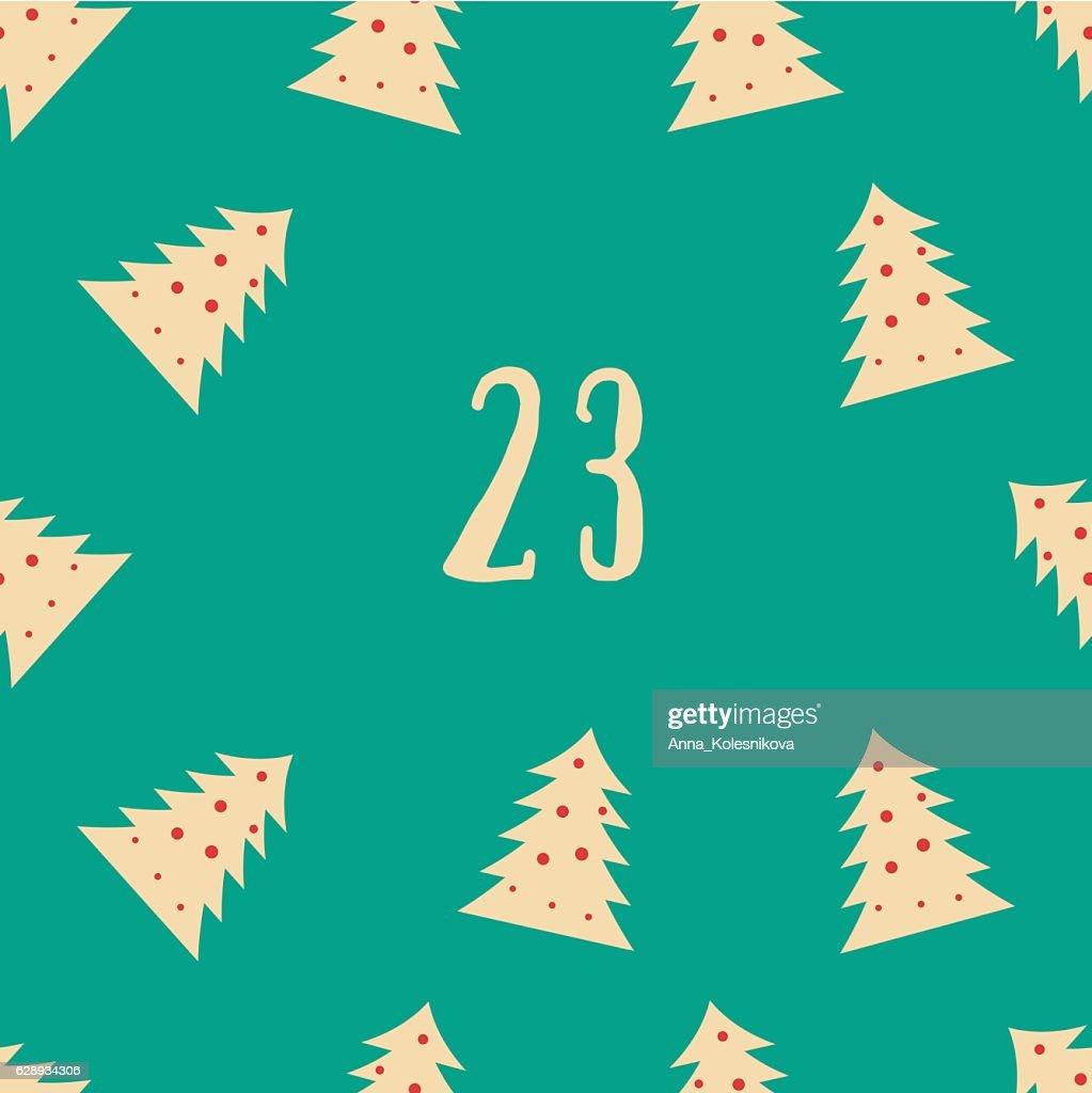 Christmas advent calendar set. Printable card.