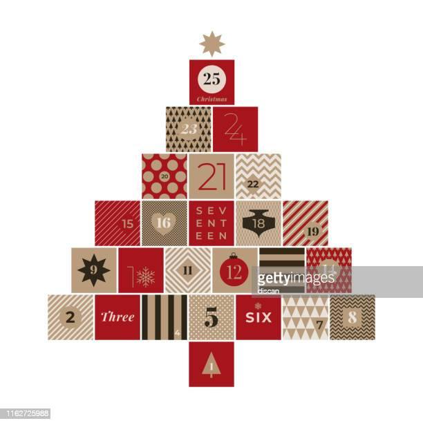 illustrazioni stock, clip art, cartoni animati e icone di tendenza di christmas advent calendar stock illustration - avvento