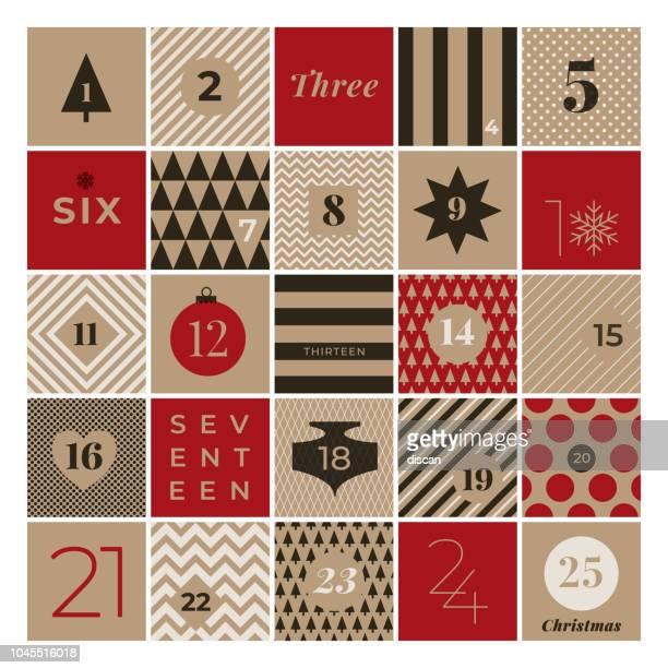 weihnachts-adventskalender - zahl stock-grafiken, -clipart, -cartoons und -symbole