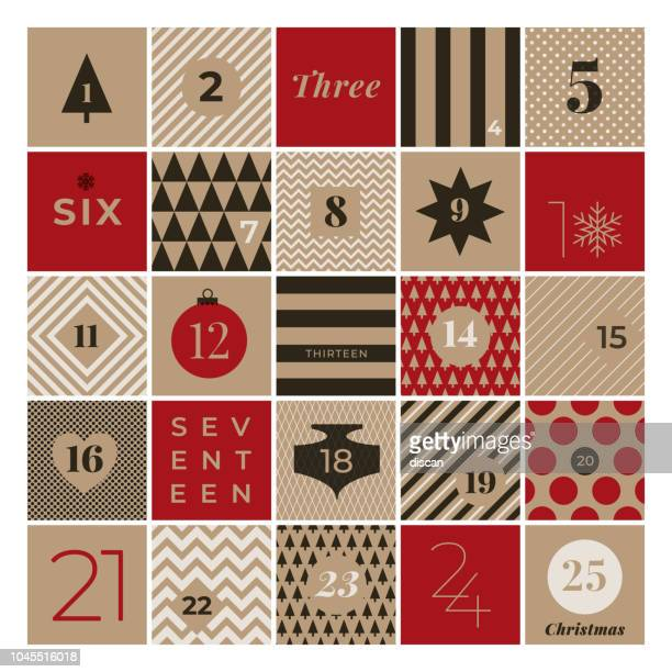 christmas advent calendar - christmas stock illustrations
