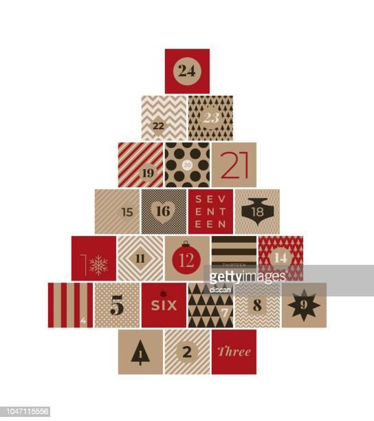 illustrazioni stock, clip art, cartoni animati e icone di tendenza di christmas advent calendar - avvento