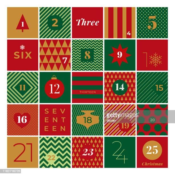 illustrazioni stock, clip art, cartoni animati e icone di tendenza di christmas advent calendar. - avvento