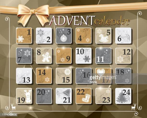 christmas advent calendar - 2019 calendar background stock illustrations